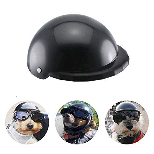 Namsan Haustierhelm Hundehelm für Hunde Einstellbar Hunde Motorradhelm Fahrradhelm Cap für Katzen/Kleine Hunde - Schwarz