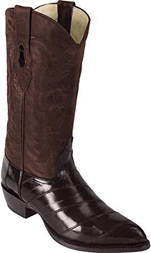 Men's Genuine EEL Exotic Skin Western/Cowboy J-Toe Boots (9 EE, Brown)
