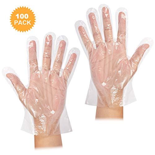 Fodlon 100 Stücke Einweghandschuhe Transparent PE Kochhandschuhe Küchenhandschuhe Handschuhe Einweg für Küche Essenszubereitung Sauber Gartenbau Grill Restaurant Handpflege Erwachsener