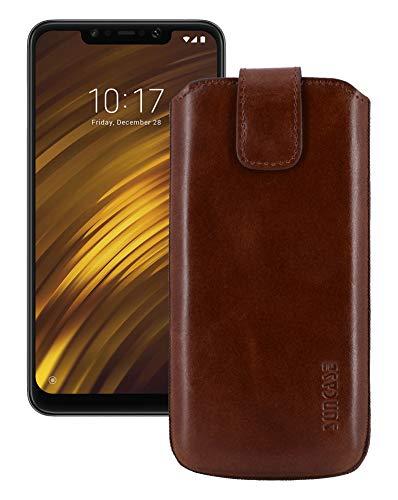 Suncase ECHT Leder Tasche kompatibel mit Xiaomi Pocophone F1 Hülle mit ZUSÄTZLICHER Transparent |Schale|Silikon Bumper Handytasche (mit Rückzugsfunktion & Magnetverschluss) in Mocca braun