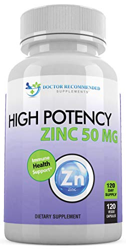 Zinc 50mg – Zinc Picolinate Immune Health Support Supplement 120 Veggie Capsules for Adults and Kids Vitamin, Well…