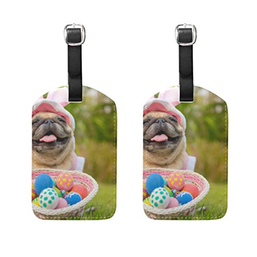 2 Stück süße Hunde mit Ostereiern Gepäckanhänger Reiseetiketten Namenskartenhalter für Gepäck, Koffer, Rucksäcke