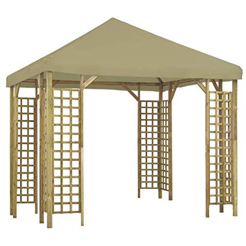 vidaXL - Carpa de jardín para recepción de patio, cenador de terraza, cenador de exterior, reunión familiar, 3 x 3 m, color beige