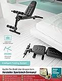 Sportstech Innovative Hantelbank 8in1 mit einzigartigem Design aus EVA-Polstermaterial | intelligentes Faltsystem BRT500 klappbar |Anti-Rutsch-Füße | Liegestützgriffe | Flachbank mit Curlpult & Poster