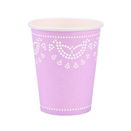 InviteMe 10 vasos de papel con diseño de encaje blanco y lila 'White Lace'