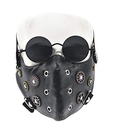 Punk Mask Men Masquerade Spike Half /Full Face Mask and Steampunk Goggles Glasses for Christmas Halloween Costume Cosplay Motorcycle Biker (Black CL)