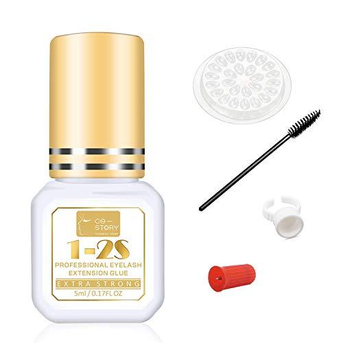 Pegamento de Pestañas 5ml 1-2 Sec Drying Time Retention – 7 Weeks Eyelash Extension Glue Lash Glue Black Adhesive for Semi-Permanent Extensions Pegamento de Extensión de Pestañas