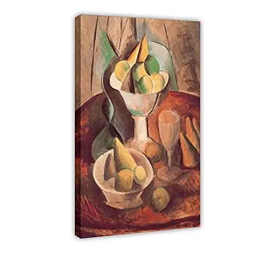 Pablo Picasso Klassisches Ölgemälde Obst in einer Vase, Leinwandposter, Schlafzimmer, Dekoration, Sport, Landschaft, Büro, Raumdekoration, Geschenk, 60 x 90 cm, Rahmen style1
