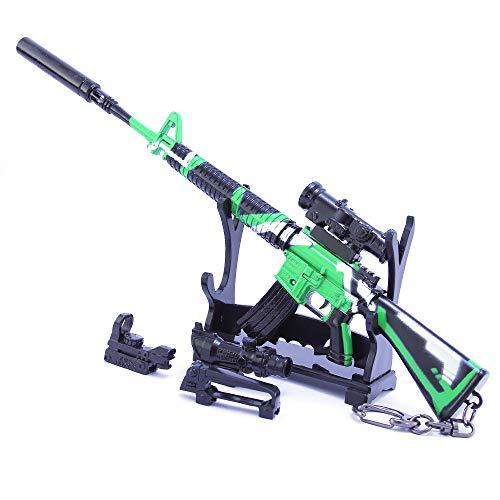 QISUO M16A4 - Llavero de metal para rifle con periféricos para juegos de guerra, modelo de juguete, colgante de regalo, fiesta, niños, mini figura de acción