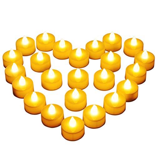 Diyife Lumini LED, [24 Pezzi] Candele LED Lumini Batteria Lumini da tè Candela Bianco Freddo Tealight Elettrica Lumini per Decorazione di Casa Halloween Natale Matrimoni Partito