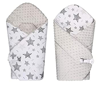 BlueberryShop polar Minky manta reversible para envolver al bebé, Saco de dormir para bebés recién nacidos, Para bebés de 0-3 meses