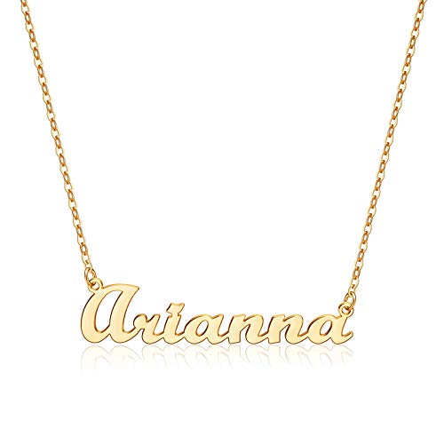 Yesteel Arianna Name Necklace Personalized, 14K Gold Plated Custom Name Necklace Nameplate Customized Jewelry Gift for Women Arianna