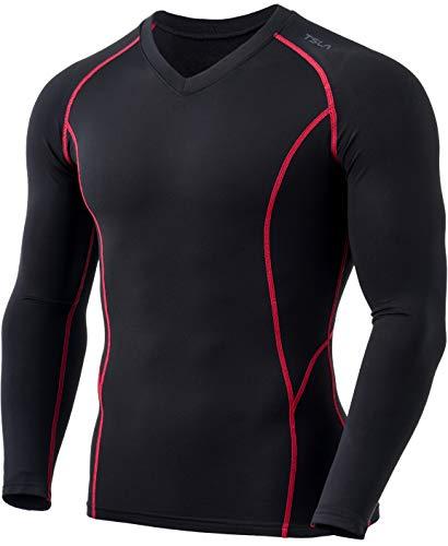 TSLA - Maglia termica a compressione da uomo con scollo a V, invernale, a maniche lunghe, con fodera in pile Yuv55 1pack – nero & rosso L