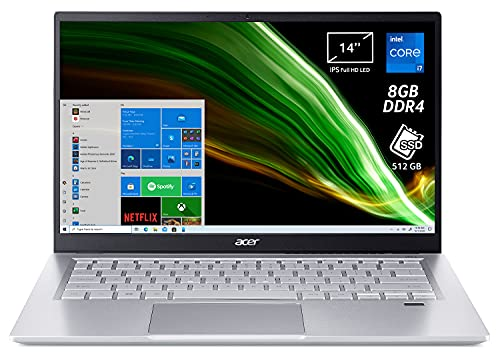 """Acer Swift 3 SF314-511-72ZS PC Portatile, Notebook, Intel Core i7-1165G7, RAM 8 GB DDR4, 512 GB PCIe NVMe SSD, Display 14"""" FHD IPS LED LCD, Scheda Grafica Intel Iris Xe, Windows 10 Home, Silver"""