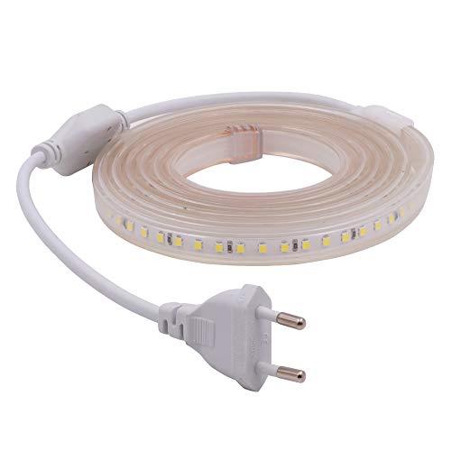 XUNATA 9m 220V Tiras LED, SMD 2835 120LEDs/m, IP67 Impermeable, Escalera de Techo Blancas Tira de LED Cocina Cable Luces LED Blanco frio
