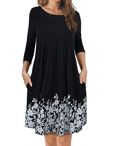 FANSIC Women's Scoop Neck Long Sleeve Casual T-Shirt Dresses with Pockets Black