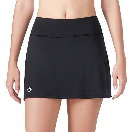 NAVISKIN Falda Pantalón Deportiva de Tenis Golf para Mujer Skorts Casuales con Bolsillos para Correr Entrenamiento Pilates Fitness Elástica Transpirable Negro XL