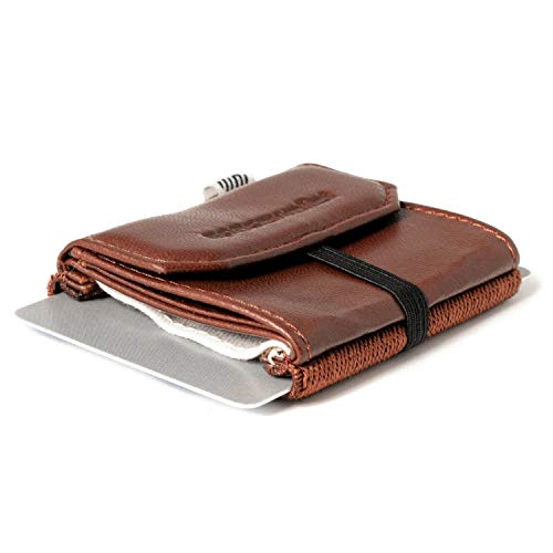 Space Wallet Pull I Mini Portemonnaue für Damen & Herren I Echtleder Geldbörse für bis zu 15 EC-Karten/Kreditkarten I Münzfach & Scheinfach I Kartenetui und Geldbeutel I Grizzly