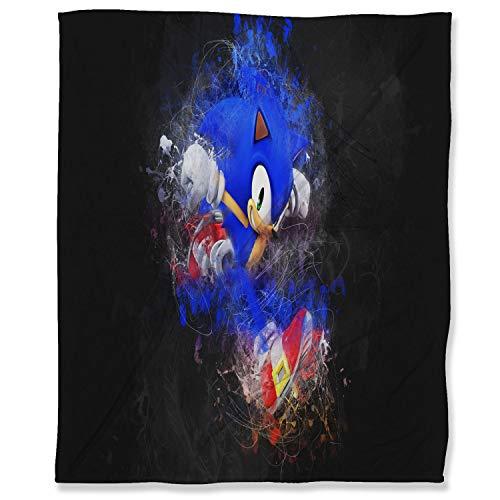 Sonic The Hedgehog - Manta de franela (150 x 200 cm), diseño de dibujos animados
