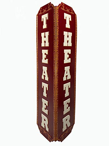 """Vertical Expressions Vintage Vertical Theater Sign 6.6"""" x 23.75"""" Metal Embossed for Home Decor Movie Room Montana"""