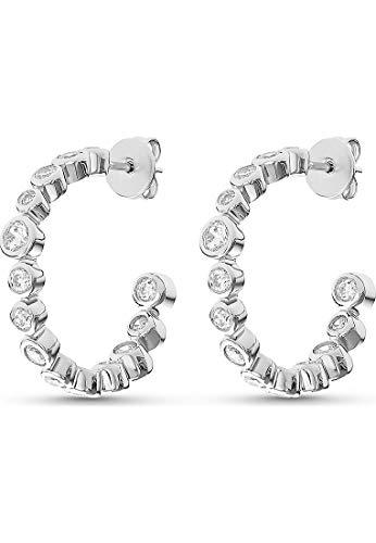 JETTE Silver Damen-Creolen Glossy 925er Silber 28 Zirkonia One Size 87744531