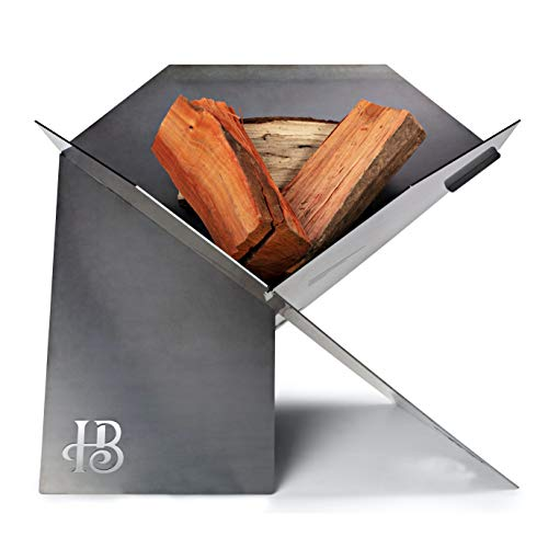 Hillenbrand & Co Fire pit Outdoor in Thick Weathering Steel Made in Australia. A Striking and Versatile Wood Burning Fire pit for Deck, Patio, Camping, RV. Portable Firepit with Heavy Duty Canvas Bag.