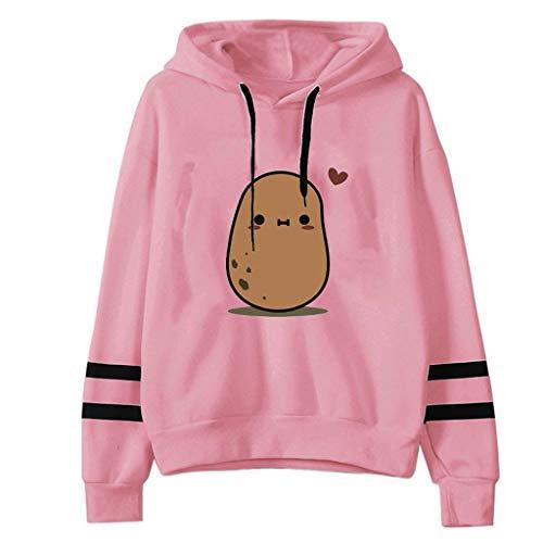 Frauen Hoodie Sweatshirt Casual Cute Print Gestreifter Patchwork Pullover Langarm Loose Tops Bluse mit Kordelzug (XL,Rosa)