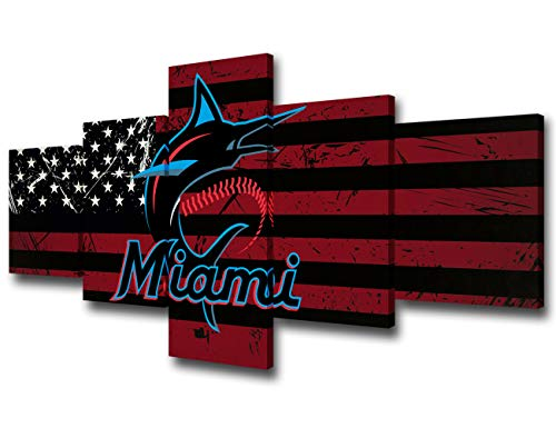 Native American Flags Paintings on Canvas Miami Marlins Logo Wall Art National League Baseball Team Picture for Living Room 5 PCS Home Decor Wooden Framed Gallery-Wrapped Ready to Hang(50Wx24H inches)