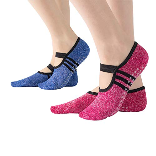 Non Slip Grip Yoga Socks for Women Grips & Straps for Pilates, Pure Barre, Ballet, Dance,Home & Hospital