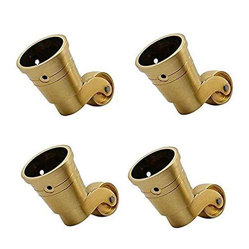 SMLZV Lenkrollen für Möbel, Messing Lenkrollen Rad 25mm Antique Trolley Caster, Tragfähigkeit 120 kg, 4-er Set, Gold, for Stühle, Tische, Abstellflächen, etc.