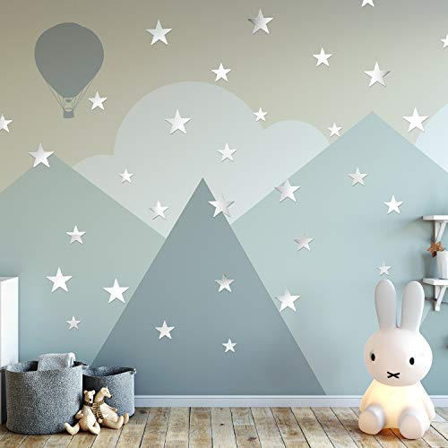 ANECO 60 Pieces Stars Wall Decals Acrylic Mirror Stars Stickers Removable Stars Art Wall Sticker for Home Decor, Baby Kids Bedroom, 3 Sizes