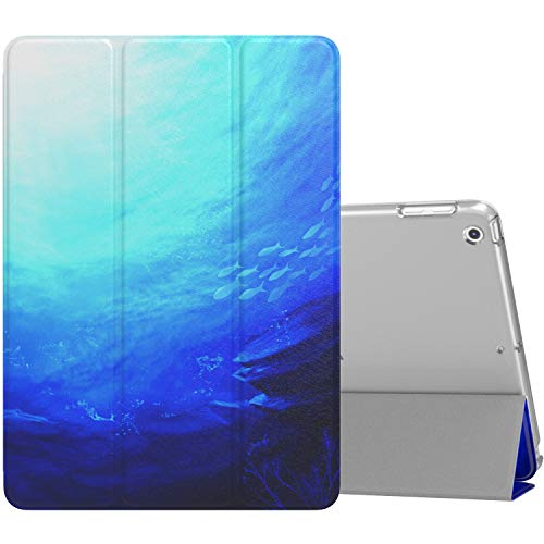 MoKo Case Fit 2018/2017 iPad 9.7 5th / 6th Generation, Slim Lightweight Smart Shell Stand Cover with Translucent Frosted Back Protector Fit iPad 9.7 Inch 2018/2017, Ocean (Auto Wake/Sleep)