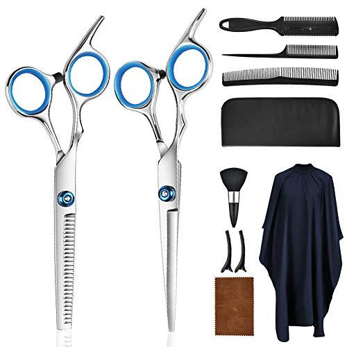 Ghafei Kit de tijeras de corte de pelo profesional de acero inoxidable recortadora de barba con tornillos ajustables, para el hogar y los salones de entrenamiento de peluquería