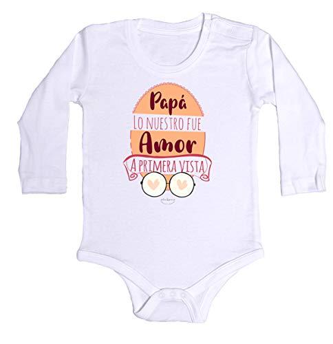 """Body bebé regalo nacimiento - manga larga - Mensaje""""Papá lo nuestro fue amor a primera vista"""" (Blanco, 3 meses)"""