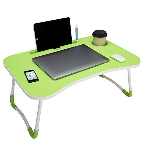 Story@Home foldable portable adjustable multifunction laptop study lapdesk table for breakfast serving bed tray office work gaming watching movie on bed/couch/sofa/floor with cup slot and tablet/ipad/notebook holder stand - Green