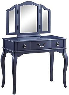 ACME Furniture 90350 Abelus Vanity Set, Tan Velvet and Blue Gray