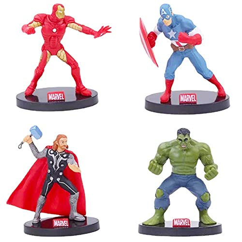 Simmpu Avengers Compleanno Decorazioni,4 Pezzi Supereroe Cake Topper per Torte di Compleann Festa Superhero Cake Topper Cartoni Animati Decorazioni