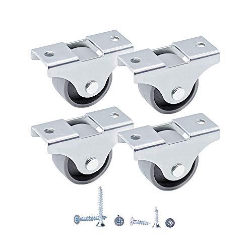 (4 Stück) 25 mm Kleine Kunststoffräder Feste Einwegrollen Rollen Mit Montageplatten Dauerhaft Nicht Schwenkbar Möbelräder Schrauben Enthalten (4)