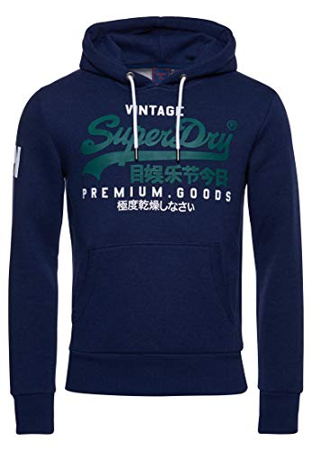 Superdry Mens VL NS Hood Hooded Sweatshirt, Midnight Blue Grit, L