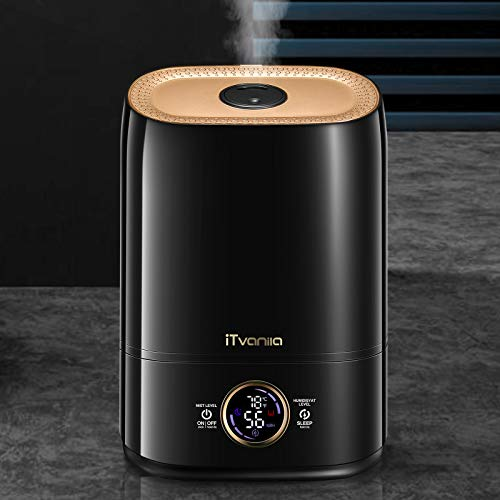 iTvanila Cool Mist Humidifier 5L, 26dB Quiet Ultrasonic Humidifier for Large Bedroom Home, Lasts Up to 50 Hours, Automatic Humidity Keeping, LED Display with Humidistat Temperature Display, Black