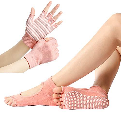Benedict Juego de calcetines y guantes de yoga de cinco dedos antideslizantes y transpirables