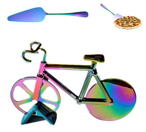 Femongy Fahrrad Pizzaschneider, Pizza Cutter aus, Fahrradform-Pizzaschneider mit Ständer, Schneidräder aus Edelstahl, Cutter für Pizza und Teig für Küchengeräte mit Pizza Schaufel (Mehrfarbig, 2 Pcs)