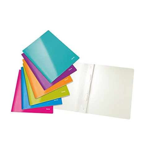 Leitz 30011099 WOW Schnellhefter (A4, Karton), Farbe zufällig,6 Stück