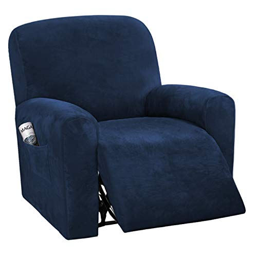 BellaHills Velvet Sofa Cover for Recliner Navy Sofa Slipcover Plush Couch Cover Strapless Sofa Furniture Protector, High Spandex Slipcover/Lounge Cover, Slip Resistant (Navy, Recliner)