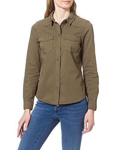 Vero Moda VMMARIA LS DNM Slim Shirt CLR Color Camisa, Ivy Green, XS para Mujer