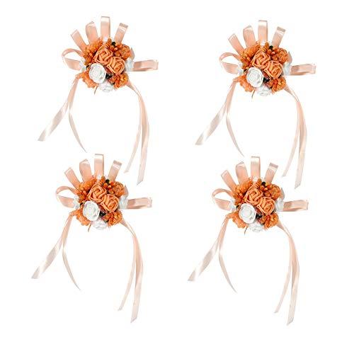 4 stks Bruidsmeisje Bruiloft Armbanden Set Prachtige bloemenpols lijfje voor vrouwen en meisjes voor feesten Proms Dans Bloem Boeket Bruiloft Decoratie Oranje + Wit