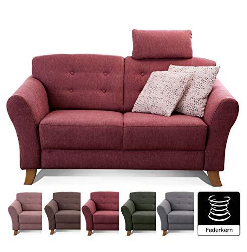 Cavadore 2-Sitzer-Sofa / Moderne Couch im Landhausstil mit Knopfeinzug im Rücken / Federkern / Inkl. Kopfstütze / 163 x 89 x 90 / Flachgewebe rot
