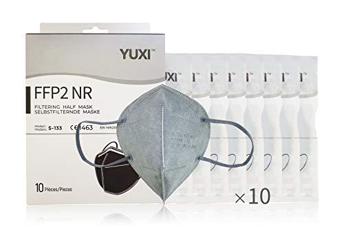 YUXI Maske FFP2 Zertifiziert, 10 Einheiten, Grau, CE1463 EN 149:2001 + A1:2009 FFP2 NR