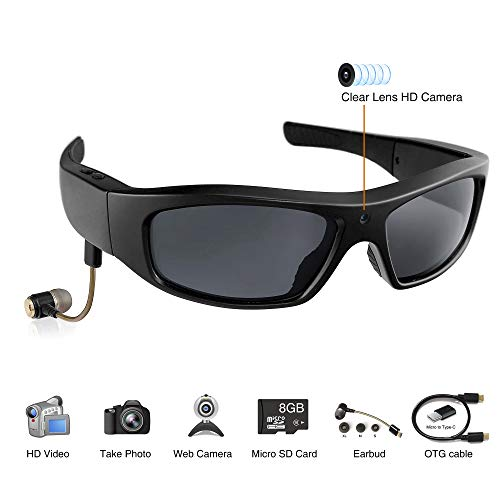 Sale!! Wearable Sport Camera Glasses with Wireless Headset Video Sunglasses HD Video Glasses for And...