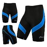 Coolmax - Pantalones cortos de ciclismo para hombre con acolchado antibac, Hombre, negro y azul, XL